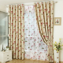 American country modern double sided print floral rose blackout shading cloth curtains for living room bedroom windows