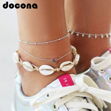 docona Boho White Rope Shell Heart Pendant Anklets for Women BeachString Layered Anklet Bracelet Foot Jewelry Pulseras 6974