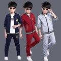 Мальчики одежда набор для мальчиков костюм хлопка мальчик куртка и брюки 2 шт. детская одежда осенью ребенок спортивный костюм 4-12 лет