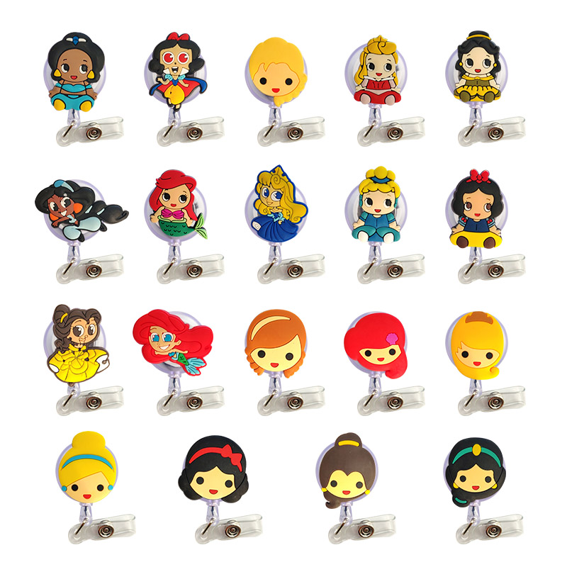 50pcs lot Cartoon Mix Design Girl Nurse Retractable Badge Reel Pull ID Card Badge Holder Belt