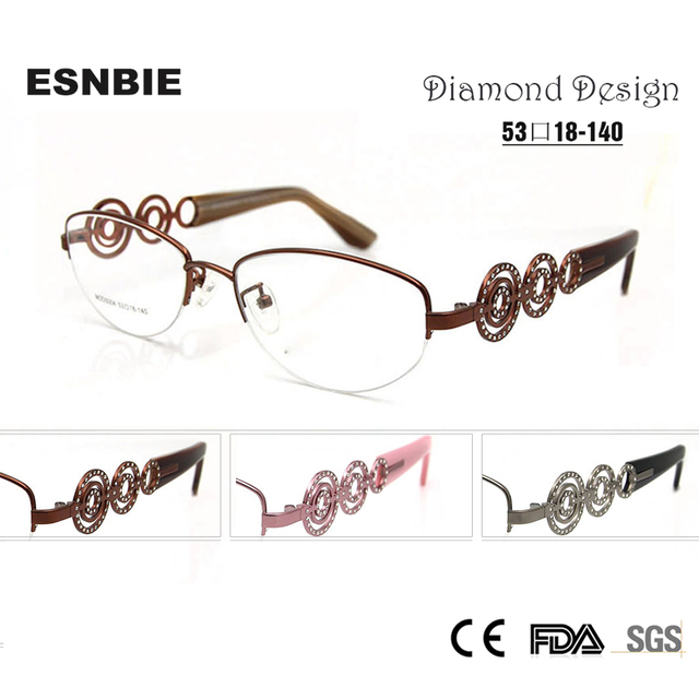 ESNBIE Brand Design Luxury Women Glasses Half Frame Myopia Rx ...