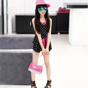 2015 New Fashion summer girls clothing set kids children girls shorts jumpsuit one piece Halter top and jumpsuit overalls 6-10Y