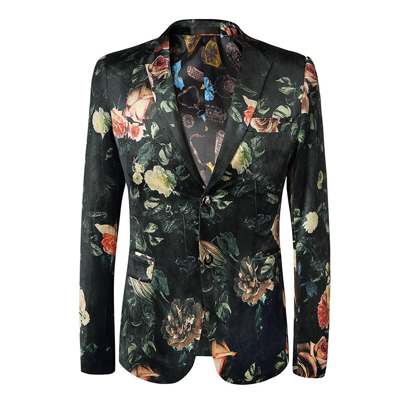 Loldeal Men's Stylish Dragon Floral Suits Fashion One Button Party Blazer Jacket|Blazers| |  - title=