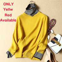 ONLY Yellow AND Red AVAILABLE winter women sweater female loose striped turtleneck pullovers female loose thick warm sweater