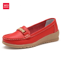 WeiDeng 2017 Women Genuine Leather Casual Slip On Moccasins Wedge Soft Driving Shoes Loafers Comfortable Ultralight Lazy Flats