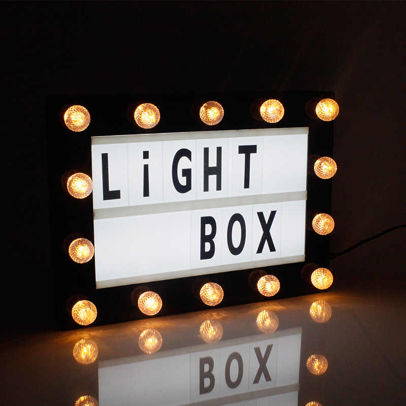 A4 Cinema Light Box Message Light Box DIY Personal LED Sign,Marquee Style LED Lightbox w 180 Letters Emojis Numbers for Festival//Birthday//Anniversary//Home//Wedding//Shop D/écor,USB Or Battery Powered