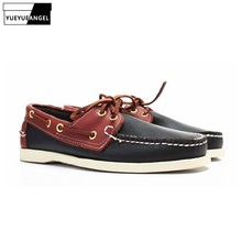British Classic Boat Shoes Men Lace Up Casual Flats 2019 New Genuine Leather Male Driving Shoes Breathable Large Size Moccasin