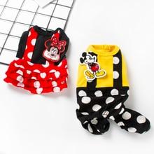 Գարնանային ամառ Կենդանիներ շների հագուստով ննջազգեստով փոքրիկ շունով հագուստ Rompers Polka Dot Mickey Mouse Princess Puppy զգեստ Chihuahua զգեստները