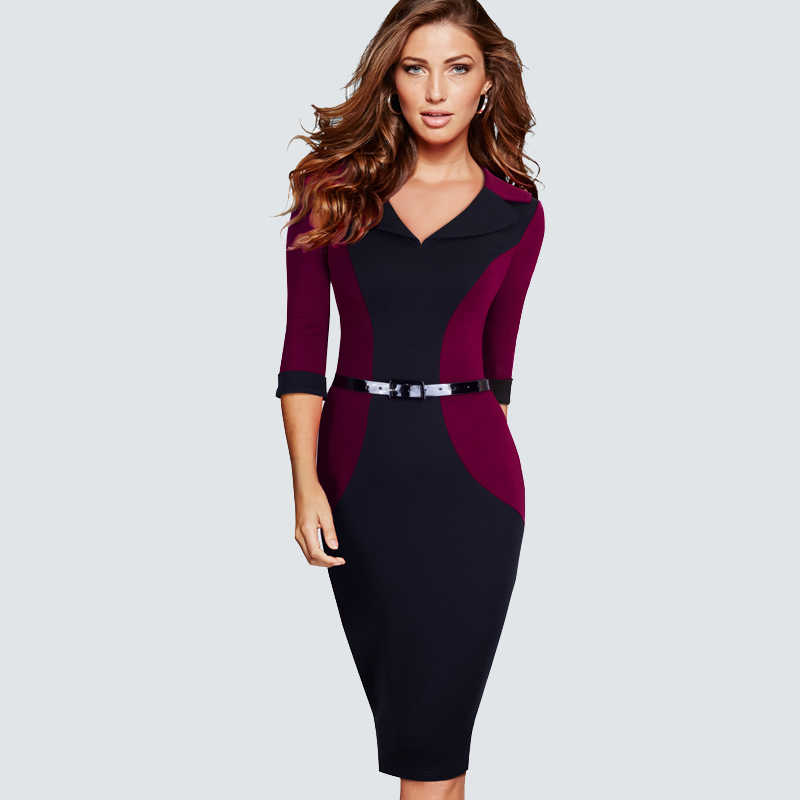 Casual Wear Werk Office Business Patchwork Bodycon Jurk Elegant Belted Colorblock Contrast Potlood Jurk HB354