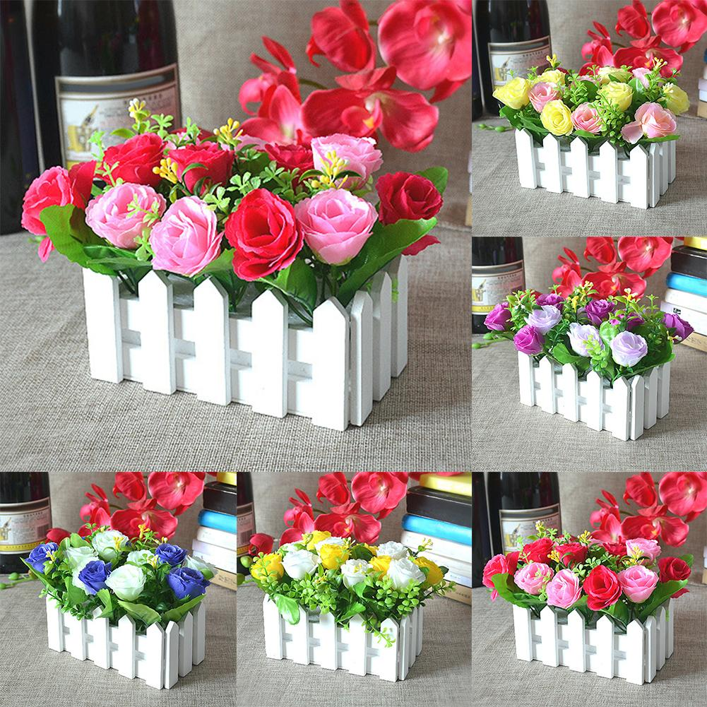 1 Bouquet Artificial Flower Wooden Fence Garden Potted Plant Diy