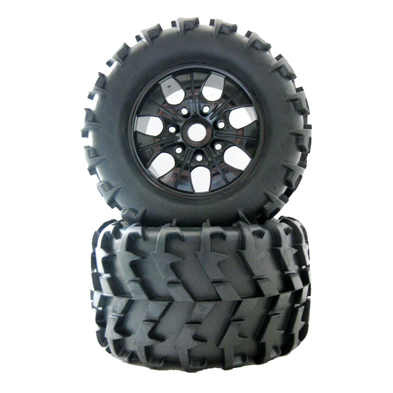 4 Pieces 150mm Site truck tires Rubber Off-road vehicles have changed Bigfoot t Wheel Rims 17mm Hex Hub RC 1/8 82r 801 replacement plastic rubber wheel for 1 8 scale off road cars black red 4 pcs