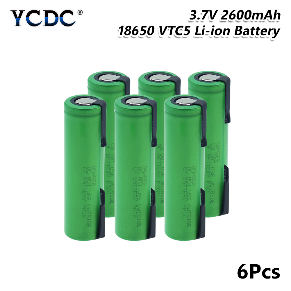 NEW 6/8/10 PCS 2600mAh 3.7V lithium battery VTC5 18650 li-ion Battery With Tabs 30A Output High Drain For Vape