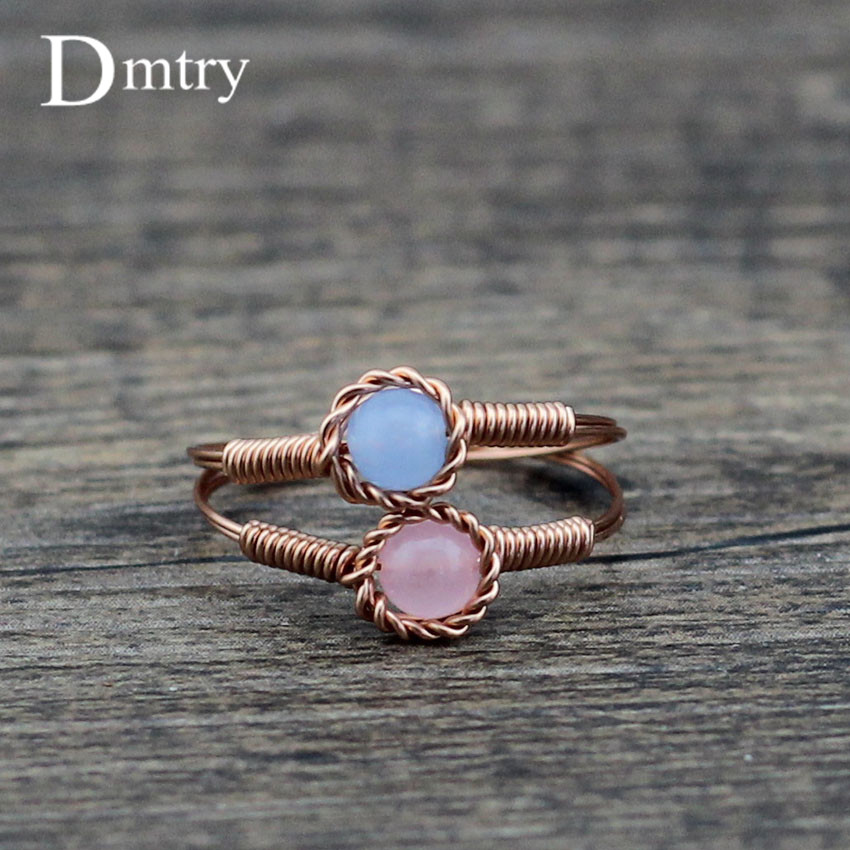 Dmtry Design Brand Top Quality Bijoux Charm Twist 4mm Natural Stone Rose Gold Women Ring For Engagement Wedding Gift CR0014