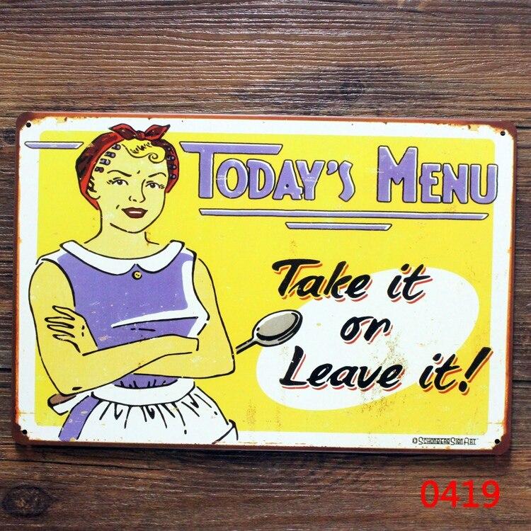 Today Menu Metal Tin Signs Plaque