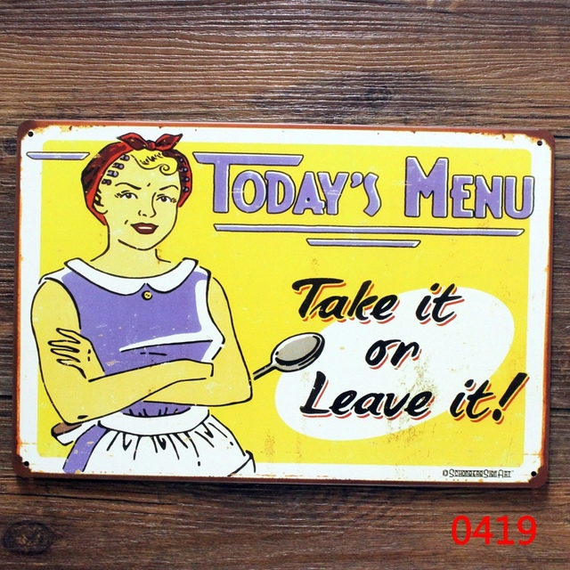 New Arrivals about food today menu metal tin signs Metal plaque home ...
