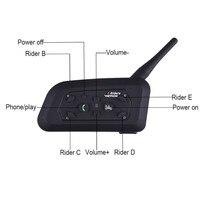 Bluetooth Motorcycle Helmet Intercom 1200M Full Duplex 6 Riders Wireless BT Interphone Headsets Communication System EU