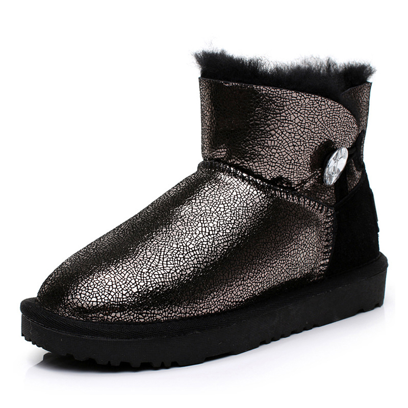 UVWP New Fashion waterproof Genuine sheepskin Leather women Snow Boots 100% Natural Fur ankle boots Warm Wool winter shoes new fashion brand women snow boot genuine sheepskin leather snow camouflage boots natural fur winter boots warm wool women boots
