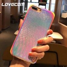 Чехол для телефона с лазерной градиентной текстурой под крокодиловую кожу для iPhone 11 Pro Max XR X XS Max 7 8 6S Plus, мягкий чехол, полуобернутый чехол для телефона