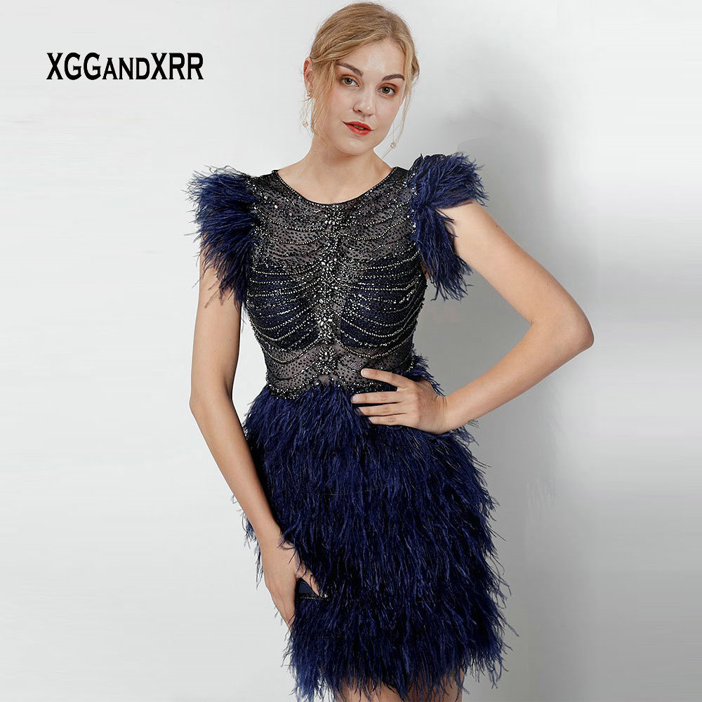 Luxury Feather Short Cocktail Dress 2019 vestidos de coctel Navy Blue Beading Crystal Illusion Back Scoop Girls Party Gown