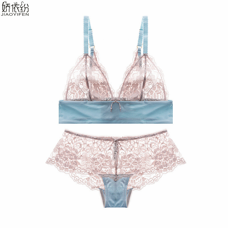 JYF New sexy lace ultra thin   bra     set   perspective semi sheer floral women underwear triangle lace french brand   bra     brief     sets