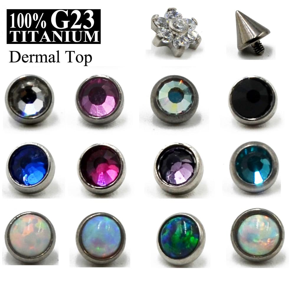 1pc G23 Titanium Micro Dermal Opal Gem Micro Dermal Anchor Crystal Top Dermal Piercings Surface Piercing 14G Body Jewelry
