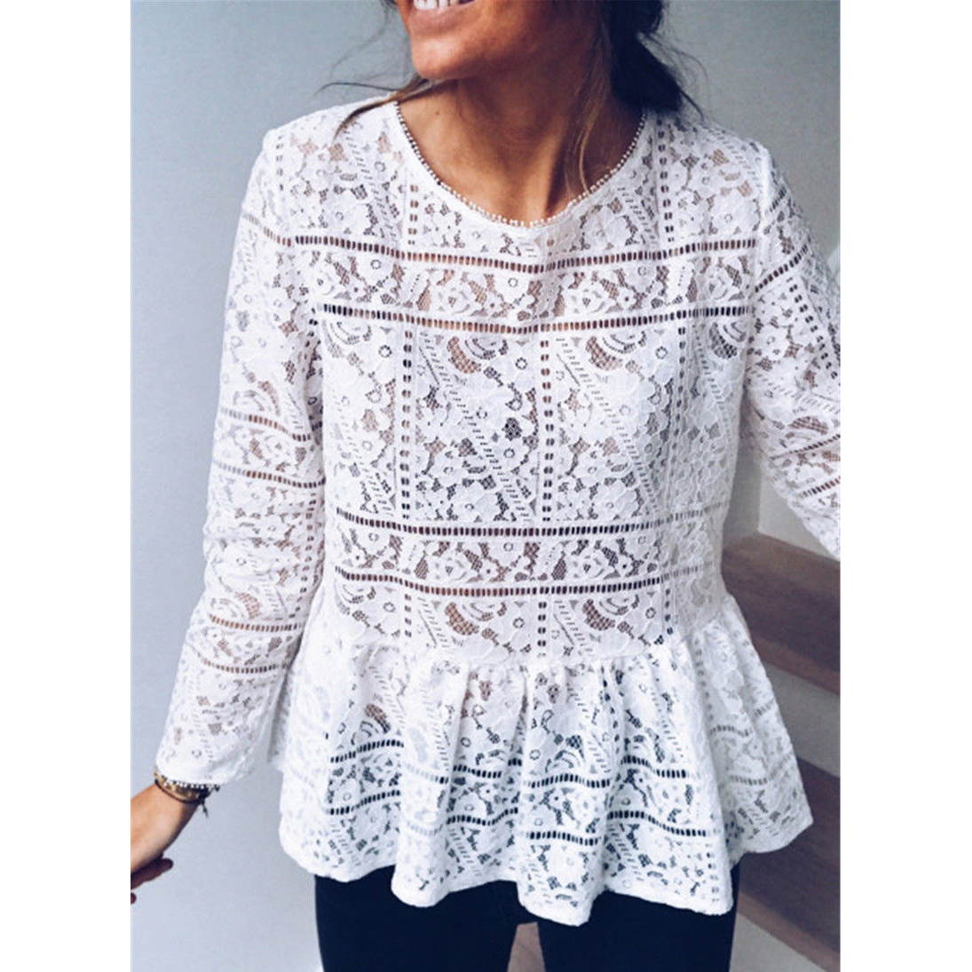 Fashion Women Boho Beach Holiday Summer Loose Casual Chiffon Lace Ruffled Embroider White Tops Femme Ladies Mesh Blouse