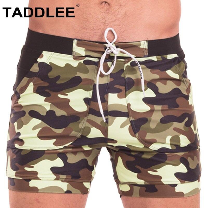 Taddlee Brand Sexy Men's Swimwear Swimsuits Men Long Swimming Boxer Trunks Bikini Camo Beach Board Shorts Pockets Bathing Suits