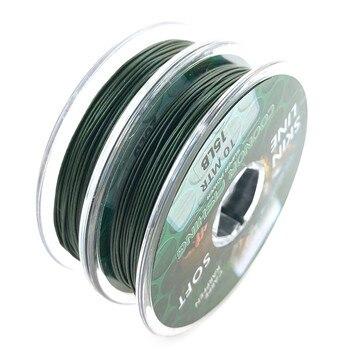 Żyłka karpiowa zielona powlekana plecionka haczyk prowadzący rdzeń prowadzący do zestawów do włosów szybko tonąca linia skóry 10m 15LB 25LB 35LB