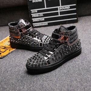 Image 3 - Männer casual bankett prom tragen atmungs niet schuhe persönlichkeit flache plattform schuh freien bühne stiefeletten zapatos hombre
