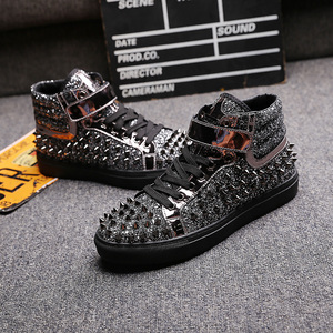 Image 3 - mens casual banquet prom wear breathable rivet shoes personality flat platform shoe outdoors stage ankle boots zapatos hombre