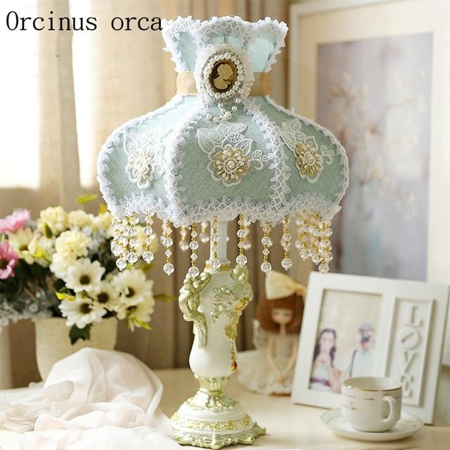 girls table lamp feminine korean garden decorative table lamp princess room girls bedroom bedside european lovely cloth lace