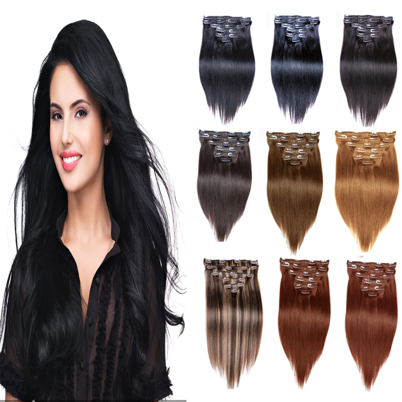 Jet Black Brazilian Straight Clip In Hair Extensions 200g 7a