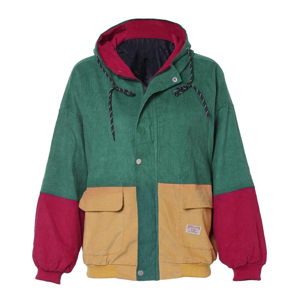 ¿ZAN? estilo de invierno cálido de bloque de Color con capucha chaqueta de pana de Color bolsillos básica gruesa abrigo de mujer Harajuku nueva