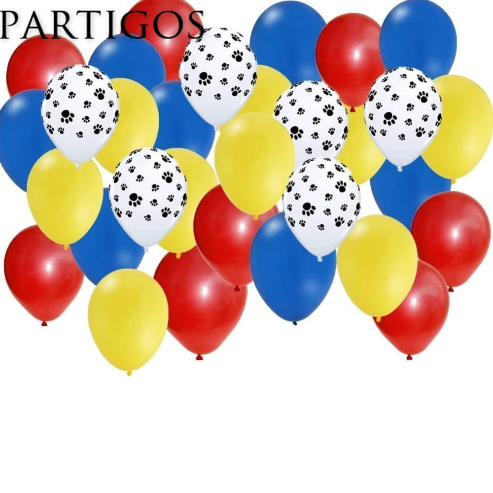 30pcs Mix 2.3g Pets Dog Paw Latex Balloons Animal Theme Party Decor Kids Classic Toys Globos Helium Air Inflatable Balls Supply