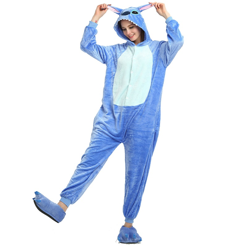 Flannel Sleepwear Stich Sloth Pink Panther Panda Unicornio Giraffe Kumamon Koala Lemur Totoro Fox Long Sleeve Hooded Onesie