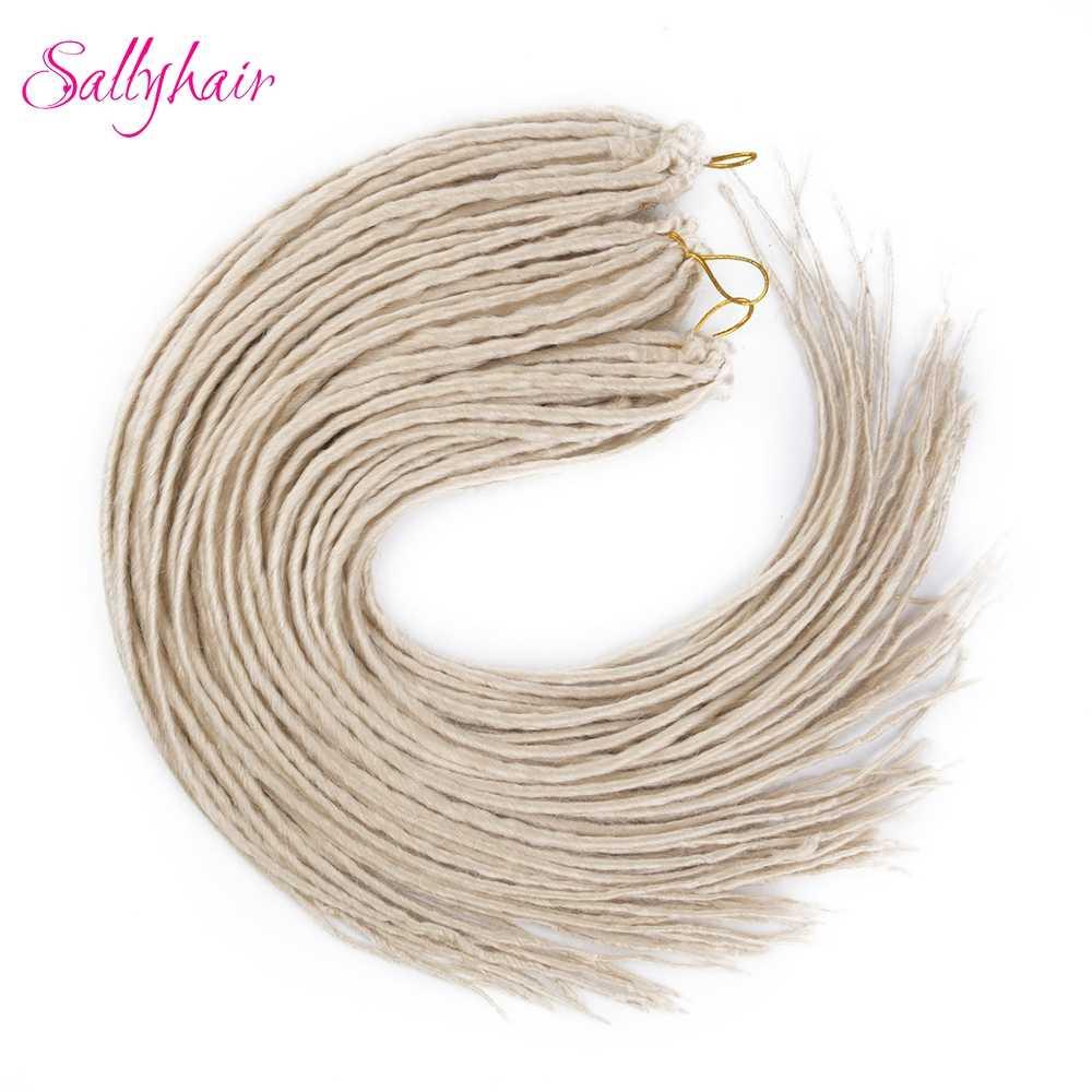 Sallyhair 20 дюймов 12 прядей ручной работы Длинные дреды синтетические накладные волосы крючком Косы черный белый для мужчин и женщин