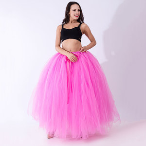 Image 3 - Party train Funny DIY nie tiul do szycia spódnica dla kobiet dziewczyn wielowarstwowy 100cm długi tiul długie spódnice Faldas mujer moda 2020
