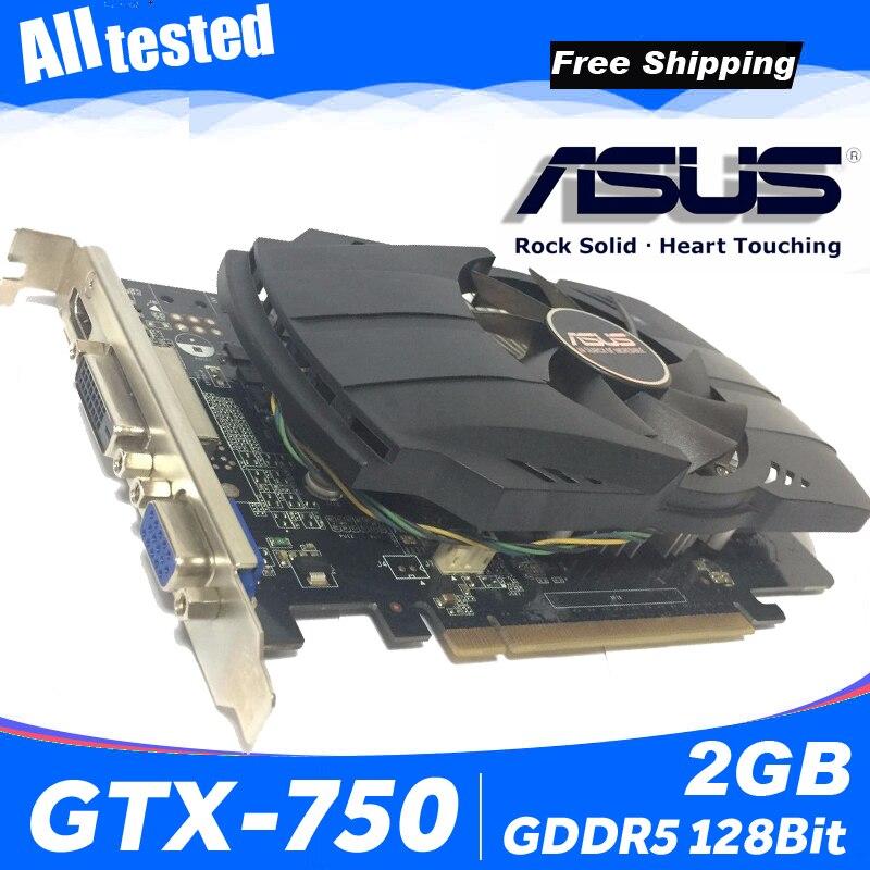 Asus GTX 750 FML 2GB GTX750 GTX 750 2 グラム D5 DDR5 128 ビット PC デスクトップグラフィックスカード PCI Express 3.0 コンピュータグラフィックスカード 750 2 ギガバイト  グループ上の パソコン & オフィス からの グラフィックカード の中 1