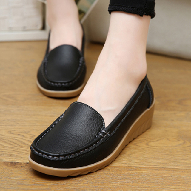 74914724bfcf00 sale top Spring casual large size leather flat shoe mom shoes nurse shoes  white non-