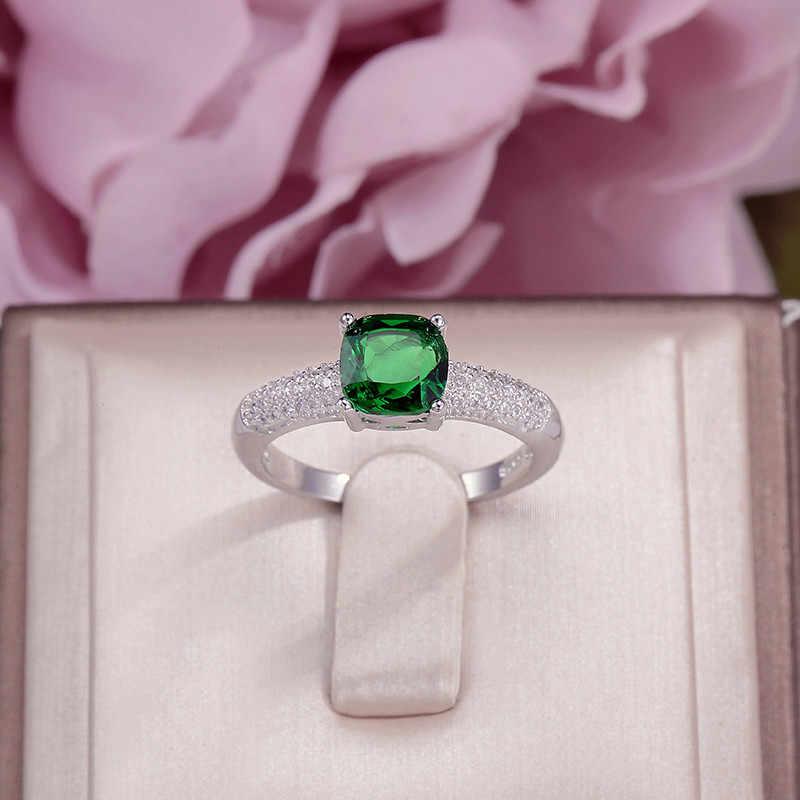 c56b5f4b88b3 Anillos para las mujeres 100% plata 925 Cubic Zirconia cuadrado verde piedra  joyería fina anillo