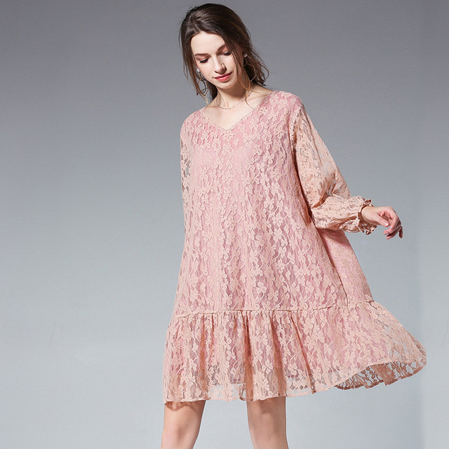 New2018 Spring Female Plus Size Elegant Lace Dress Loose Fit Ruffled