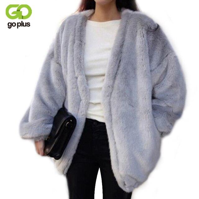 Goplus 2016 faux fox fur coat mujeres con cuello en v de invierno medio largo corto Lujo Faux Fur Abrigos Mujer Chaqueta Abrigo Abrigo de Visón Mex