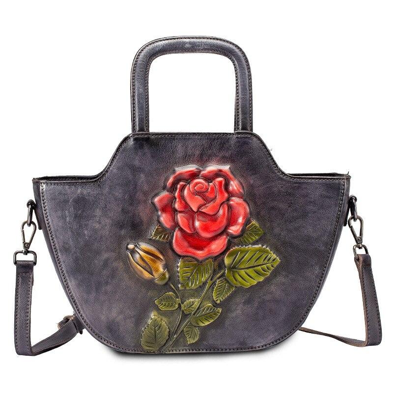 Bolso de cuero genuino bolso de mano de cuerpo cruzado Color brocha patrón de rosa de alta calidad mujeres hombro mensajero Top ASA bolsos-in Cubos from Maletas y bolsas    1