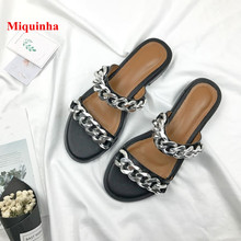 d32c7f5ea4bd Summer Casual Beach Women Slippers Black Chain Designer Metal Decoration Women  Slippers Cuts Out Outdoor Flats
