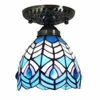 Europeu orgulhoso como um pavão azul vidro corredor lâmpada do teto varanda luzes de teto de vidro corredor quarto lâmpada iluminação teto Luzes de teto Luzes e Iluminação -