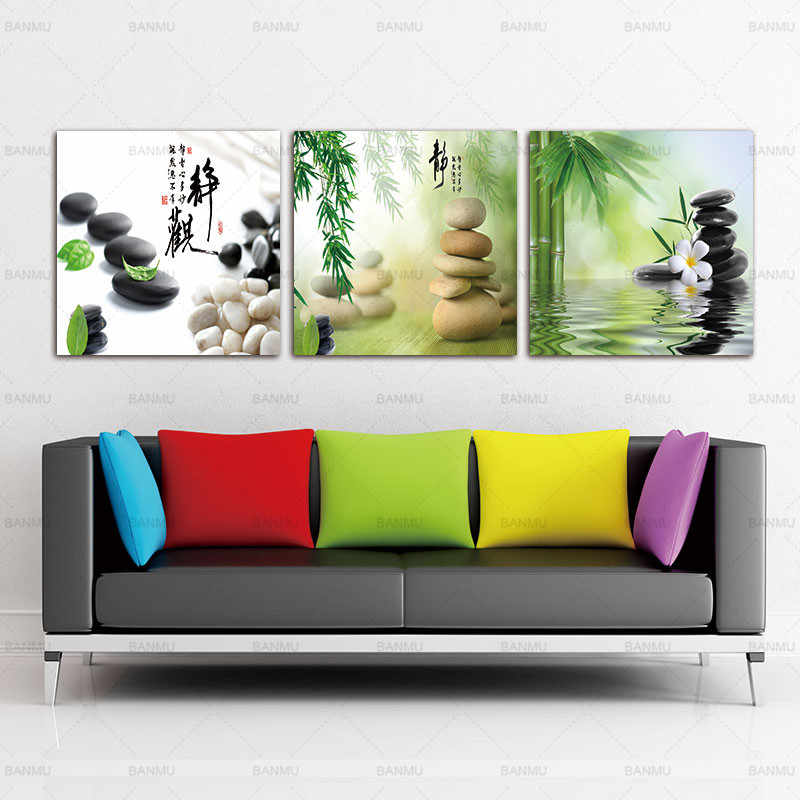 Green leaves over zen stones Canvas Art Cheap Wall Print Home Interior