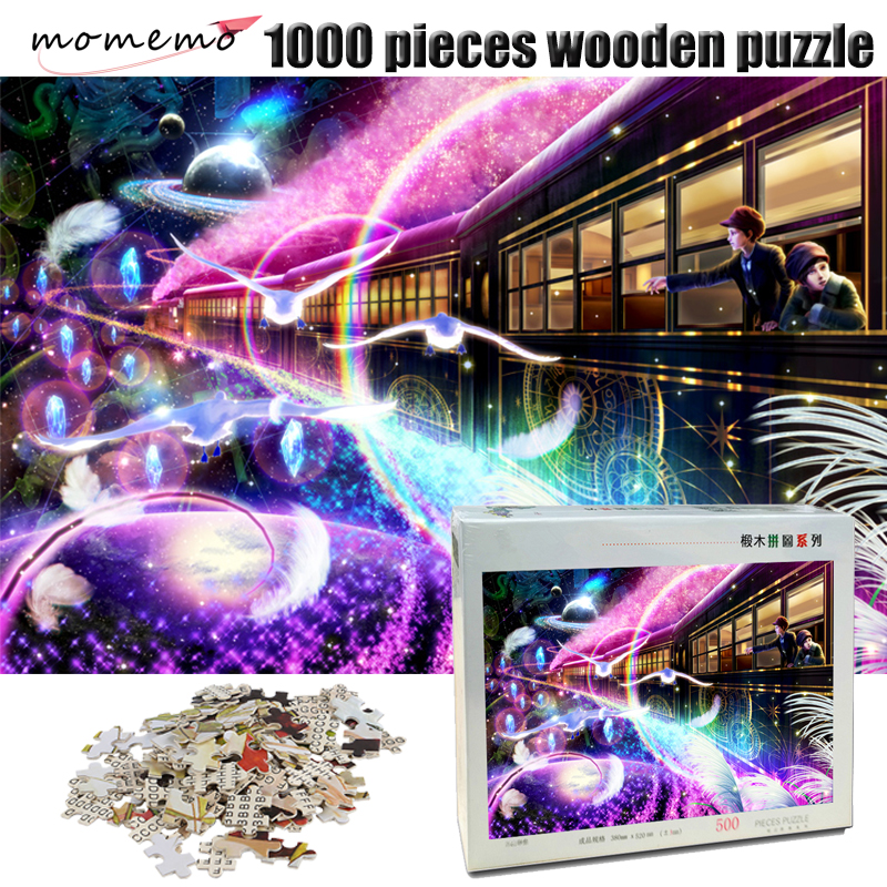 MOMEMO Fantastic Galaxy Train 500/1000 Pieces Puzzle Wooden Adult Jigsaw Puzzle 1000 Pieces Exquisite Landscape Puzzles Toy Game