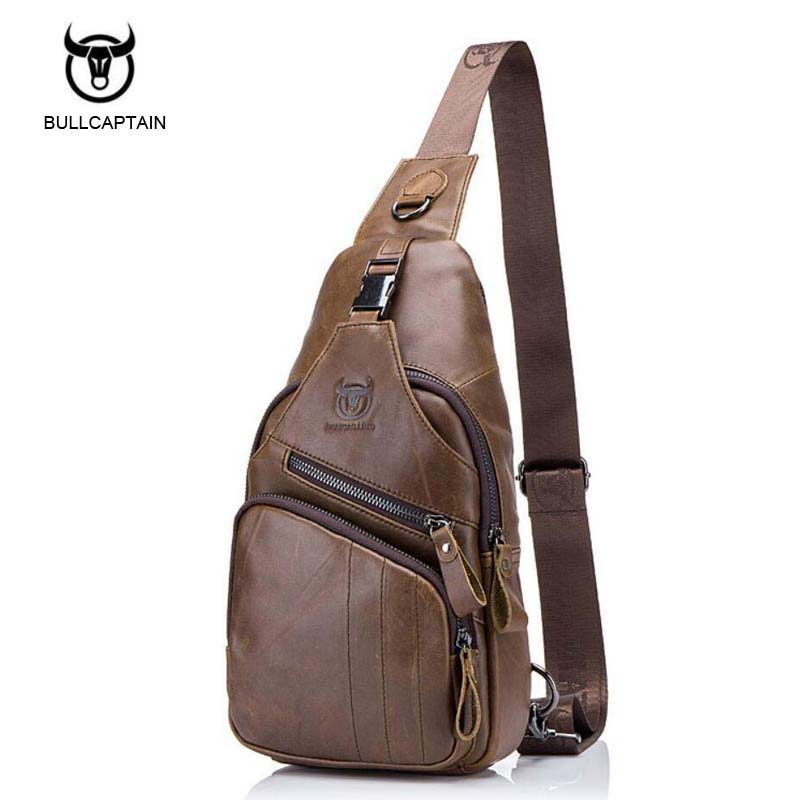 BULLCAPTAIN Genuine Leather Mens Sling Bag Single Shoulder Bag Men Chest Pack Messenger Crossbody Bag for Man Bolsas Masculina