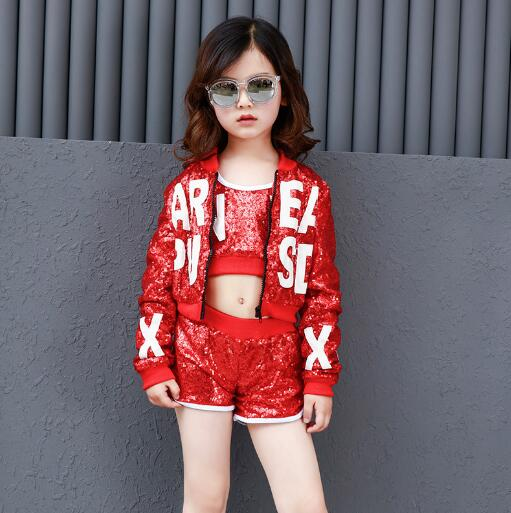 Children hip Hop Jazz Costume Red Sequined Dance Performance Wear Clothing Kids Sports Clothes Outfits For Girls Boys 6 8 12 Y girls belly dance wear clothes kids dance costume indian dance wear for children 4pcs set