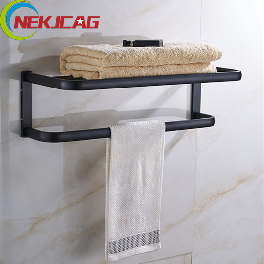 Best Quality Wall Mounted Bath Shower Accessory Oil Rubbed Bronze Towel Bar Storage Holder Bath Towel Rack black oil rubbed bronze bathroom accessory wall mounted toothbrush holder with two ceramic cups wba197